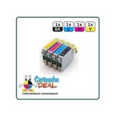 Epson T0715 :Lot 4 Cartouches Compatible Stylus Sx218 Sx400 Sx405 Sx410 Sx415 Sx510 Sx515 Sx600 Sx610 T0711 T0712 T0713 T0714