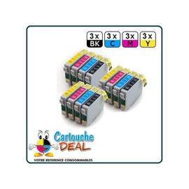 Epson T0715 :Lot 12 Cartouches Compatible Stylus Sx218 Sx400 Sx405 Sx410 Sx415 Sx510 Sx515 Sx600 Sx610 T0711 T0712 T0713 T0714