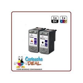 Canon Pg-40 Cl-41 : Lot 2 Cartouches Compatible Pour Pixma Ip1020 Ip1200 Ip1300 Ip1600 Ip1700 Ip1800 Ip1900 Ip2200 Pg40 Cl41