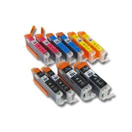 Lot 10 Cartouches D'Encre Vhbw Avec Puce Int�gr�e Pour Canon Pixma Mg5650, Mg6350, Mg6450, Mg6650, Mg7150 Comme Cli-551bk/C/M/J, Pgi-550bk.