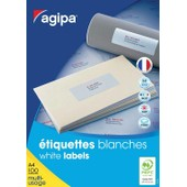 Agipa Lot De 5 Boites 3200 �tiquettes 51x33,8 Mm (32 Sur 100f A4) Multi-Usage Coins Droit Permanent Blanc