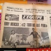 L'equipe N�7831-Eddy Merckx Ce Tour Me Fait Peur- Rennes Lyon Bis-Pele A Paris-Goven Sort Nastase
