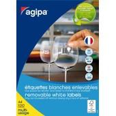 Agipa Bte 100 �tiquette A4 210x297 Mm (1 X 100f A4) Multi-Usage Coin Droit Enlevable Blanc
