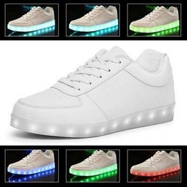 Chaussures Led Femme Homme Blanc Usb Rechargeable Clignotants Chaussures De Sports Baskets Blanc
