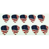 Lot De 10 M�diators 0,60 Mm Drapeau Am�ricain (Guitare �tats Unis Mediator Usa Plectrum Picks Punk Rock �lectrique �lectro Acoustique Classique Basse)