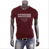 T-Shirt Uraeus Humour J'ai Une Fille Magnifique J'ai Aussi Une Arme Une Pelle Un Alibi Ok?