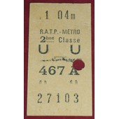 Ticket De M�tro Des Ann�es 60