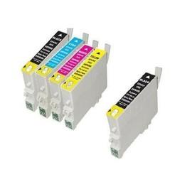 Pack 5 Cartouches Epson Compatibles T0615 -Epson Stylus Dx3850 -3 T0611+ 1 T0611 Noir Gratuite 2 T0612 Cyan - 2 T0613 Magenta - 2 T0614 Yellow