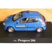 Peugeot 206 Gendarmerie Bleu Oliex Neuve 1/43 No Police 1ere Version