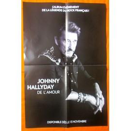 JOHNNY HALLYDAY DE L'AMOUR POSTER/BON DE PRECO PLAN MEDIA FORMAT 60X40 RARE PLIé