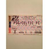 Billet Psg/Celtic Fc Coupe D'europe Des Vainqueurs De Coupe 1/8 De Finale Aller Du 19/10/1995