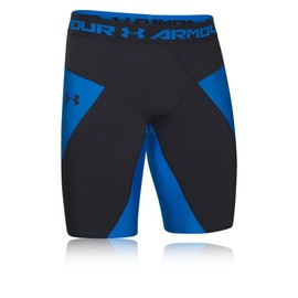 Under Armour Coreshort Hommes Bleu Noir Heatgear Compression Short Bermudas Bas