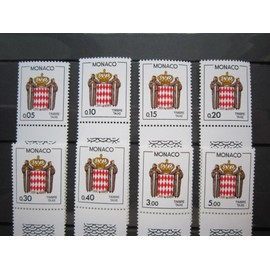 MONACO. TIMBRES N° 75-82 (1985). TIMBRES TAXE. ECUSSON STYLISE.
