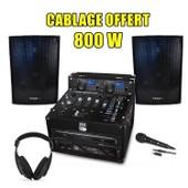 PACK SONO DJ Complet 800W, Ampli Double Lecteur CD