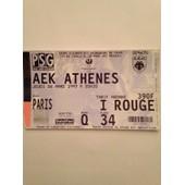 Billet Psg/Aek Athenes Coupe D'europe Des Vainqueurs De Coupe 1/4 De Finale Aller Parc Des Princes Du 6/03/1997