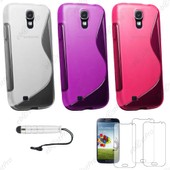 Ebeststar � Lot X3 Housse Etui Coque Silicone Gel Motif S-Line Protection Souple Pour Samsung Galaxy S4 I9500 I9505, Couleur Transparent, Violet, Rose + Mini Stylet 3 Film