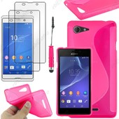 Ebeststar � Housse Etui Coque Silicone Gel Motif S-Line Protection Souple Pour Sony Xperia E3 D2203, Couleur Rose + Mini Stylet 3 Film