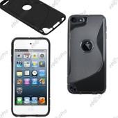 Ebeststar � Housse Etui Coque Silicone Gel Motif S-Line Protection Souple Pour Apple Ipod Touch 5g, Couleur Noir + 1 Film Protection D'�cran + Lingette