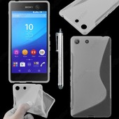 Ebeststar � Housse Etui Coque Silicone Gel Motif S-Line Protection Souple Pour Sony Xperia M5, M5 Dual, Couleur Transparent + Stylet + 1 Film Protection D'�cran + Lingette