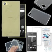 Ebeststar � Housse Etui Coque Silicone Gel Tpu Souple Ultra Fine 0,5mm Pour Sony Xperia Z5 Compact, Couleur Transparent + Film Verre Tremp�
