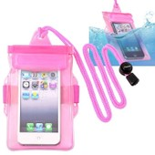 Insten� Housse �tui Pochette De Protection �tanche Waterproof En Pvc Pour Iphone 4/4s/5/5c/5s, Samsung Galaxy S3 Mini/S4 Mini, Blackberry Q10 [R�sistant � L'eau: 3 M�tres], Rose/Transparent