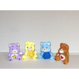 Bisounours Marron Bleu Jaune Mauve 4 Mini Peluches 8cm