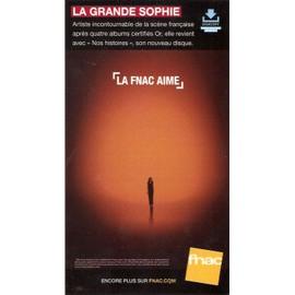 PLV 14x25cm cartonnée rigide LA GRANDE SOPHIE nos histoires / magasins FNAC