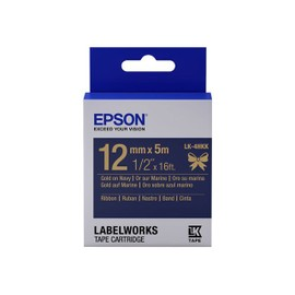 Epson Labelworks Lk-4hkk - Satin Ribbon Tape - Gold On Navy - Rouleau (1,2 Cm X 5 M) 1 Rouleau(X) - Pour Labelworks Lw-Z900fk