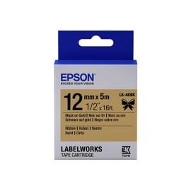 Epson Labelworks Lk-4kbk - Bande D'�tiquettes - Noir Sur Or - Rouleau (1,2 Cm X 5 M) 1 Rouleau(X) - Pour Labelworks Lw-1000p, Lw-300, Lw-400, Lw-400vp, Lw-600p, Lw-700, Lw-900p