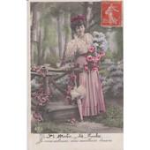 Jeune Femme Aux Fleurs Et � L'ombrelle -