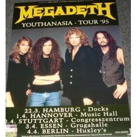 Megadeth - Youthanasia Tour 1995 - AFFICHE / POSTER envoi en tube