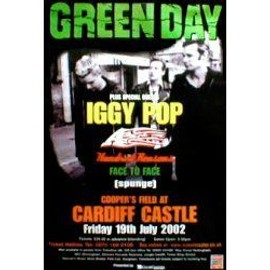 GREEN DAY - Cardiff Castle 19th July 2002 - Original Promo Poster - AFFICHE / POSTER envoi en tube