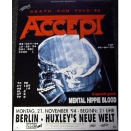 ACCEPT - Death Row Tour 1994 - AFFICHE / POSTER envoi en tube