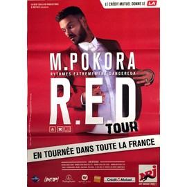 M POKORA - R.E.D. Tour - RED - AFFICHE / POSTER envoi en tube