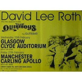 David Lee Roth - Glasgow - AFFICHE / POSTER envoi en tube