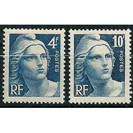 france 1945, très beaux exemplaires marianne de gandon, yv. 725 & 726, neufs** luxe