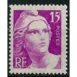 france 1945, très bel exemplaire yv. 727, marianne de gandon 15 f. lilas, neuf** luxe