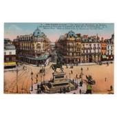 Carte Postale Ancienne Coloris�e, Anim�e, Orl�ans - La Place Du Martroi, La Statue De Jeanne D'arc Par Foyatier Et Rue De La R�publique. 45 Loiret.