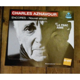 PLV souple 30x30cm CHARLES AZNAVOUR encores / magasins FNAC