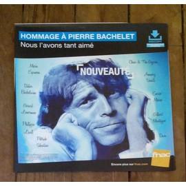 PLV souple 30x30cm hommage à PIERRE BACHELET dave lenorman macias barbelivien chico / magasins FNAC