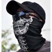 Masque, Tour De Cou - T�te De Mort / Squelette - Tube �lastique 50 X 25 - 100% Dacron - Taille Unique (Ghost Skull Biker / Rider / Soldier Protection)
