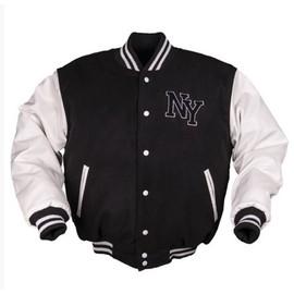Veste Baseball Noire Et Blanche Avec Patch Ny Taille S 10370002