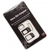 Kit Adaptateur Nano Sim/Micro Sim/ Nano Vers Micro + 1 �jecteur Carte Sim Pour Apple Iphone 3gs/4/4s/5s/5c