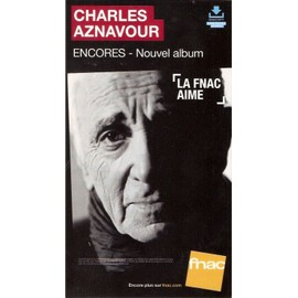 PLV cartonnée rigide 14x25cm CHARLES AZNAVOUR encores / magasins FNAC