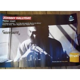 rare PLV souple 38x56cm JOHNNY HALLYDAY rester vivant / magasins FNAC