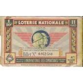 1/10 �me Loterie Nationale 1938 �mis Sous La Garantie De L'union Nationale Des Combattants