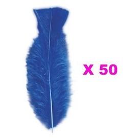 50 Plumes Droites Bleues 15 Cm