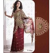 Sari Indien Couture T.38/40 Rouge Incruste Pierres/Perles Takchita Robe Kabyle Keswa Bollywood Robe Indienne Mariage