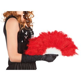 Eventail � Plumes Rouge