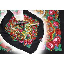 Foulard Russe Fleurs Ch�le De Russie Tissu Traditionel Folk Echarpe �tole Souvenir Cadeau Deguisement